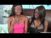 Gorgeous Black Lesbians Tongue Fuck Each Other