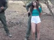 Skinny amateur babe throated and gets fucked by BP agent