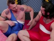 Hunk fighters ass fucking one another