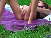 Tanning teen babe Melissa Moore likes it rough outdoors