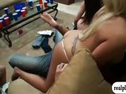 Sexy women having a house party getting tipsy and orgy