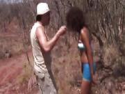 African slut sucks dicks and gets fucked