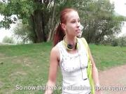 Babe jogging in a park paid to be fucked