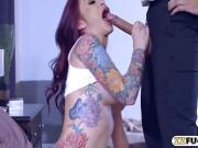 Huge boobs tattooed redhead gets her pussy rammed hard