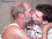 Old gay doing deeptroath in living