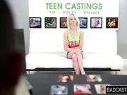 Blonde angel shows off her petite body during casting