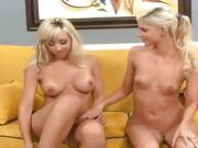 Time for these two blonde lesbians to step up and get naughty