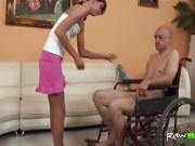 Lucky handicaped man enjoys a slim babe for a good fuck