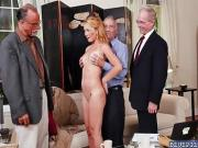 Raylin Ann is sorrounded by old cocks ready to get suck