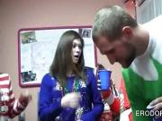 College girls flashing tits at Xmas sex party