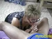 This is one of those dick sucking times with a hot mature blonde with glasses