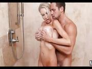 Blonde MILF Shower Fucked Young Cock