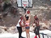 Big ass brunette doing two hung black guys