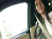 Sexy teen Eveline Dellai intensely fuck inside the car